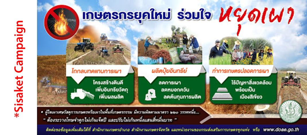 สำนักงานเกษตรจังหวัดศรีสะเกษ รณรงค์ให้เกษตรกรหยุดทำการเผาในพื้นที่เกษตร